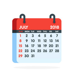 calendar for 2018 year full month of july icon vector image vector image