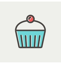 Cupcake with raspberry thin line icon vector image vector image