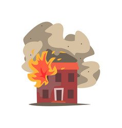 fire in the window of two storey building vector image vector image