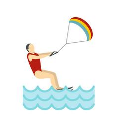 kitesurfing icon flat style vector image vector image