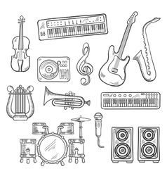 Musical instruments and equipments sketches vector image vector image