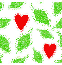 Seamless pattern with decorative spring leaves and vector
