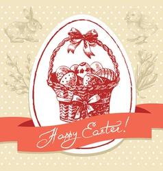 Vintage Easter background hand drawn vector image