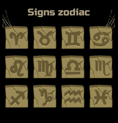 zodiac signs and a set of badges on old stone vector image vector image