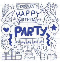 07-09-039 hand drawn party doodle happy birthday vector