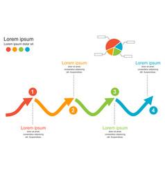 4 steps arrow wave chart diagrambusiness concept vector image