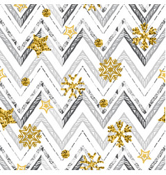 a gold snowflake pattern zigzag christmas chevron vector image