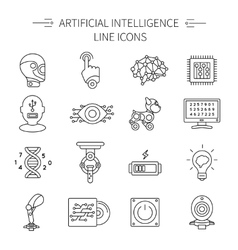 Artificial intelligence line icon set vector