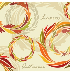 Autumn background leaves and wreaths vector