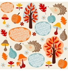 Autumn fall seamless pattern with fruit hedgehogs vector