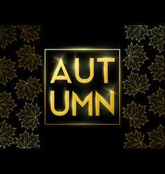 autumn sale banner with golden frame vector image