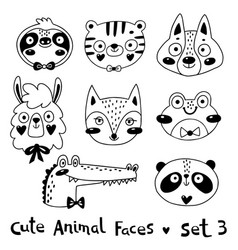 Avatars funny animal faces sloth tiger wolf alpaca vector