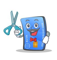 Barber credit card character cartoon vector