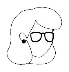 Beautiful teacher female head avatar character vector