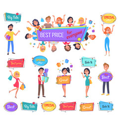 big sale with best price for everyone promo banner vector image