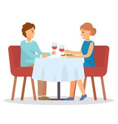 boyfriend and girlfriend on date drinking wine vector image