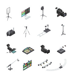 Broadcasting equipment icon set vector