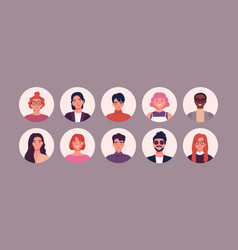 Bundle different people avatars set vector