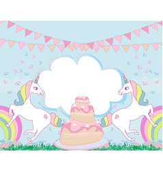 Card with a cute unicorns and birthday cake vector