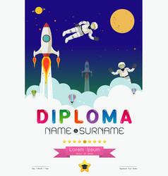 Cartoon space diploma design vector