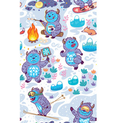 Cartoon yetis seamless pattern wallpaper vector