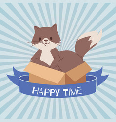 cat or kitten in cardboard box looking out cartoon vector image