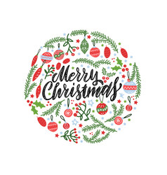 christmas background circular shape with pine vector image
