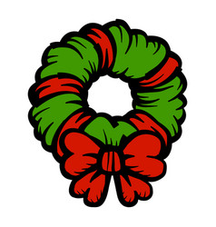 Christmas festive holiday wreath bow icon vector