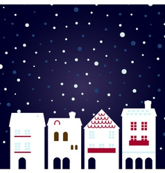 Christmas night city on snowing background vector image vector image