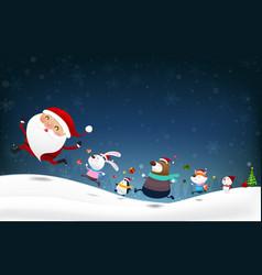 Christmas snowman santa claus and animal cartoon vector