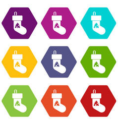 christmas sock icon set color hexahedron vector image