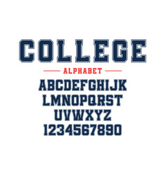 classic college font vintage sport font vector image