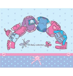 Clothing collection for baby vector