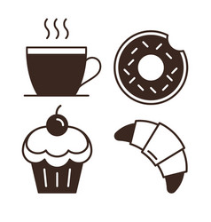 coffee house outline web pictograms vector image