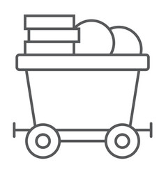 coins on mine trolley thin line icon finance vector image