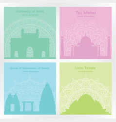 colorful square cards with silhouettes indian vector image