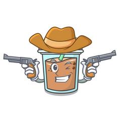 cowboy bubble tea character cartoon vector image