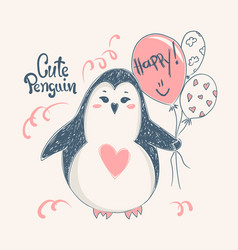 cute penguin print design for kid t-shirtsdress vector image