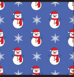 cute snowman blue seamless pattern background vector image