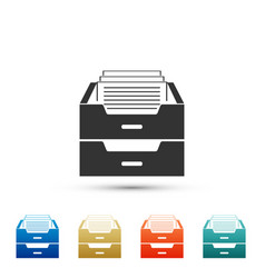 drawer with documents icon archive papers drawer vector image