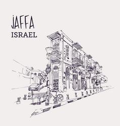 drawing sketch jaffa israel vector image