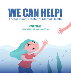 Drowning woman help in depression banner vector