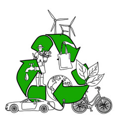 ecology design concept with green recycle symbol vector image