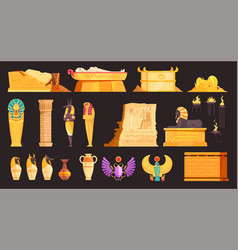 Egypt tomb burial set vector