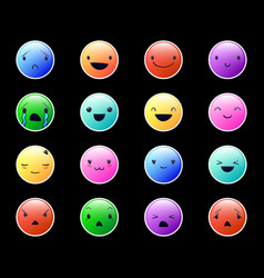 Emoticons round color new 4 vector