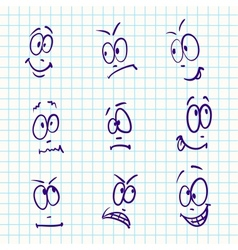 Emotion set of nine face on notebook paper vector image