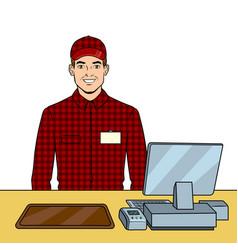fast food seller at work pop art vector image