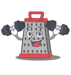 Fitness kitchen grater character cartoon vector