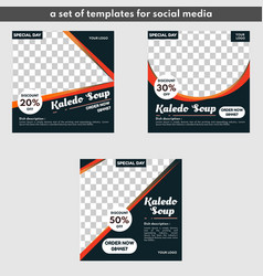 Food templates are used for promotion on social me vector