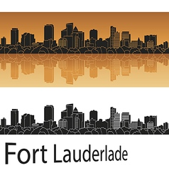 Fort Lauderlade skyline in orange vector